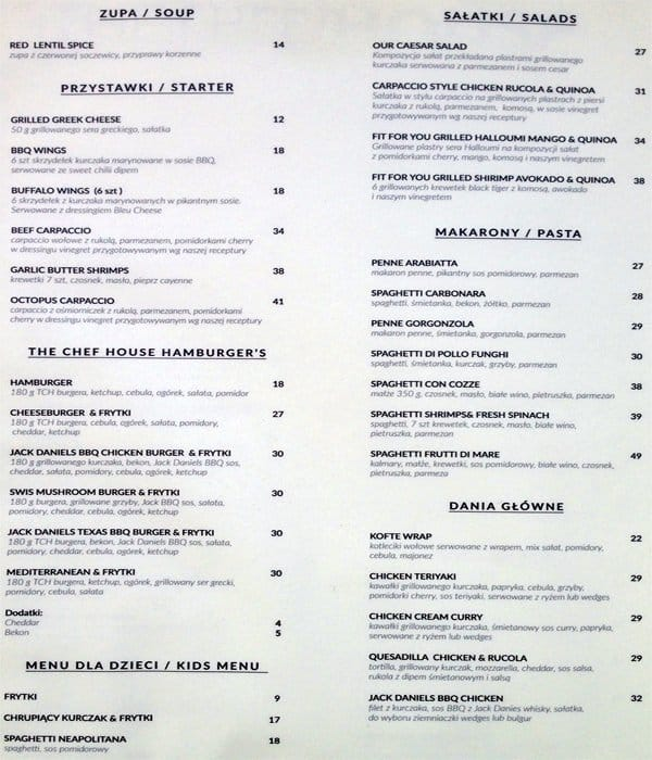 The Chef House Menu Menu Restauracji The Chef House Sluzewiec
