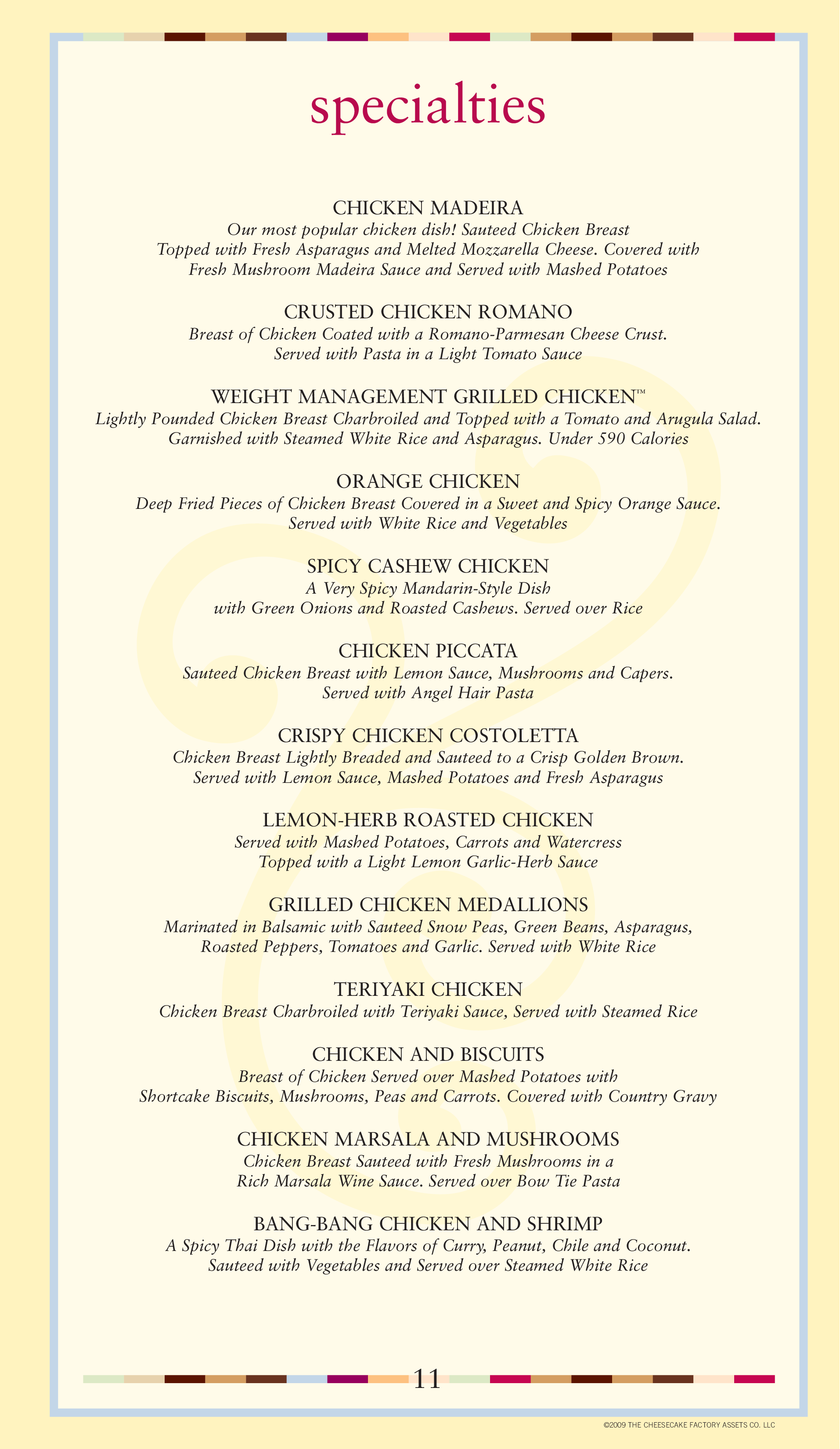 Menu at The Cheesecake Factory restaurant Westlake 148 Crocker