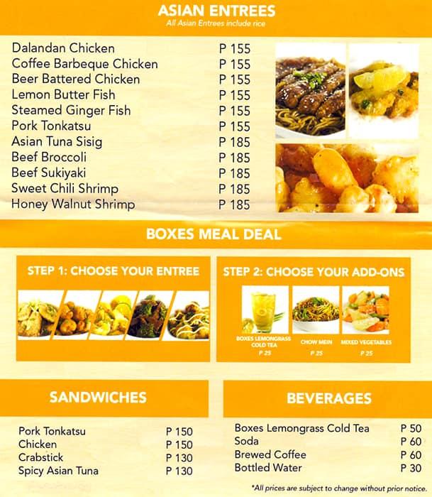 Boxes Asian Kitchen Menu Menu For Boxes Asian Kitchen Legaspi
