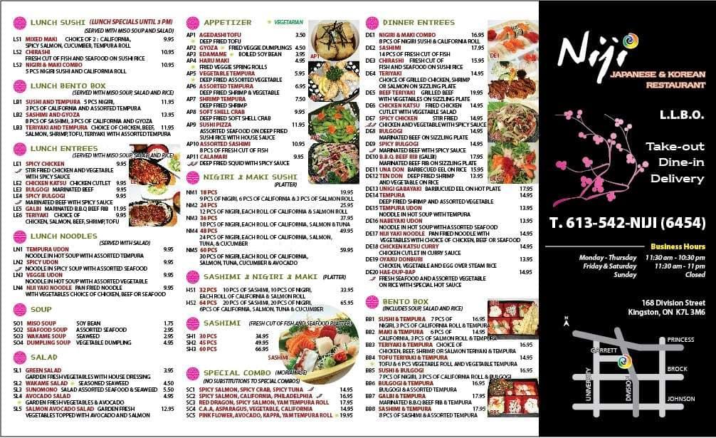 Niji korean and japanese restaurant menu urbanspoon zomato for Asian 168 cuisine menu