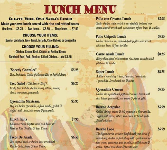 Menu at salsas mexican restaurant bellair meadowbrook terrace for Terrace on the park menu
