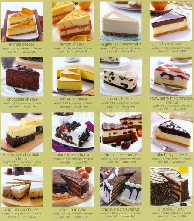Cafe India Cake Menu