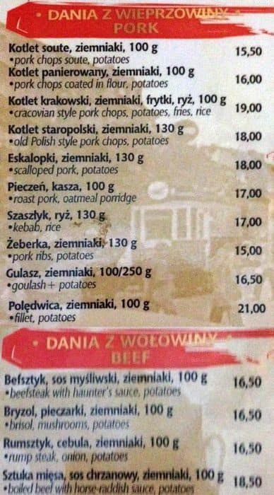 Menu At U Babci Maliny Restaurant Kraków Szpitalna 38