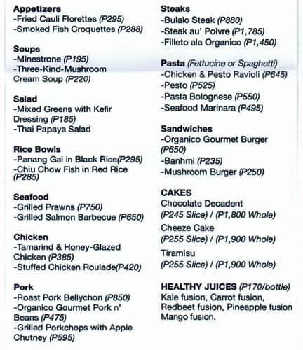 organico gourmet addition hills menu