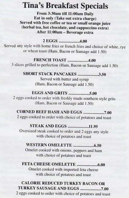 Tinas Place Restaurant Bushwick Menu
