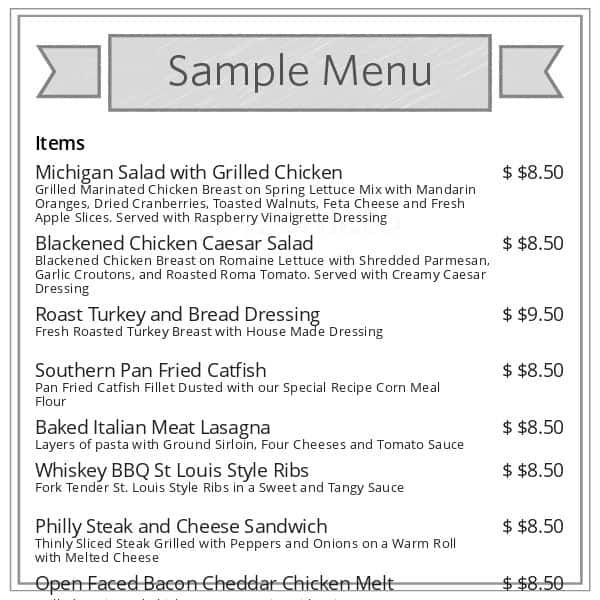 Blue Cafe Dearborn Menu