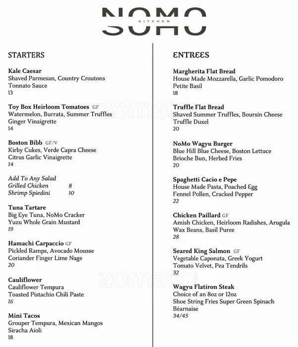 the restaurant information including the nomo kitchen menu items and prices may have been modified since the last website update - Nomo Kitchen