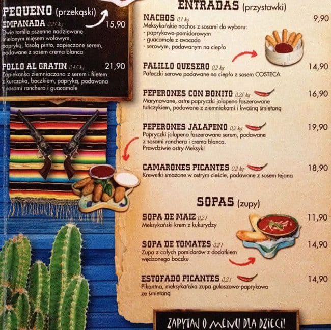The Mexican Menu Menu Restauracji The Mexican śródmieście