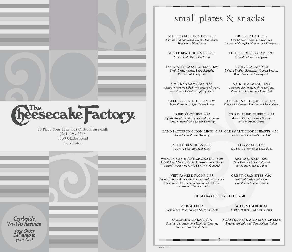 Menu at The Cheesecake Factory restaurant, Boca Raton