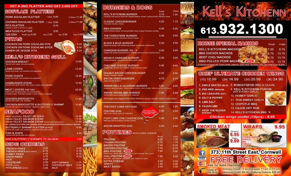 Kells Kitchen Menu Cornwall