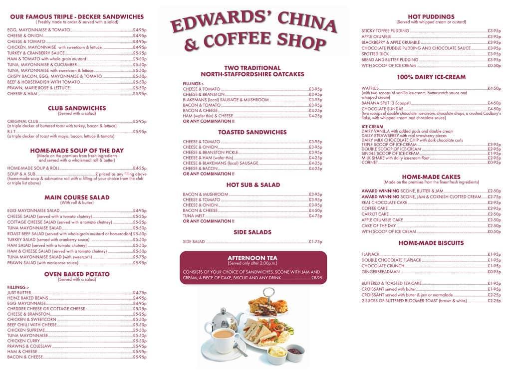 Edwards China & Coffee Shop Menu - Zomato UK