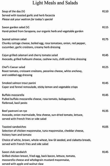 The terrace saxon hotel villas and spa menu zomato sa for The terrace restaurant menu