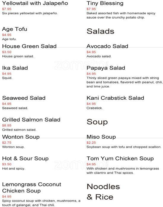 Scanned Menu For Asian Kitchen