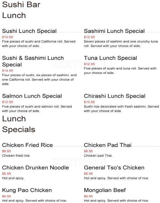 Asian Kitchen, Arlington Menu