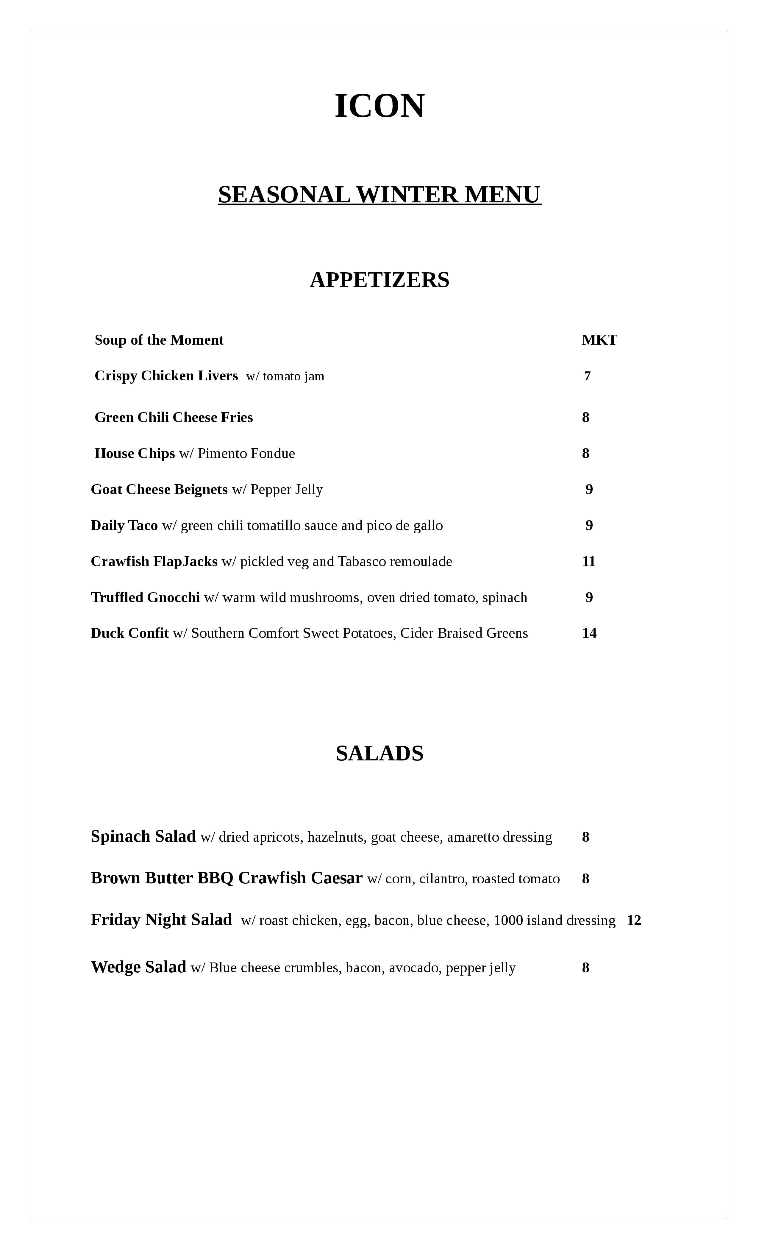 Icon Restaurant And Lounge Maplehurst Menu