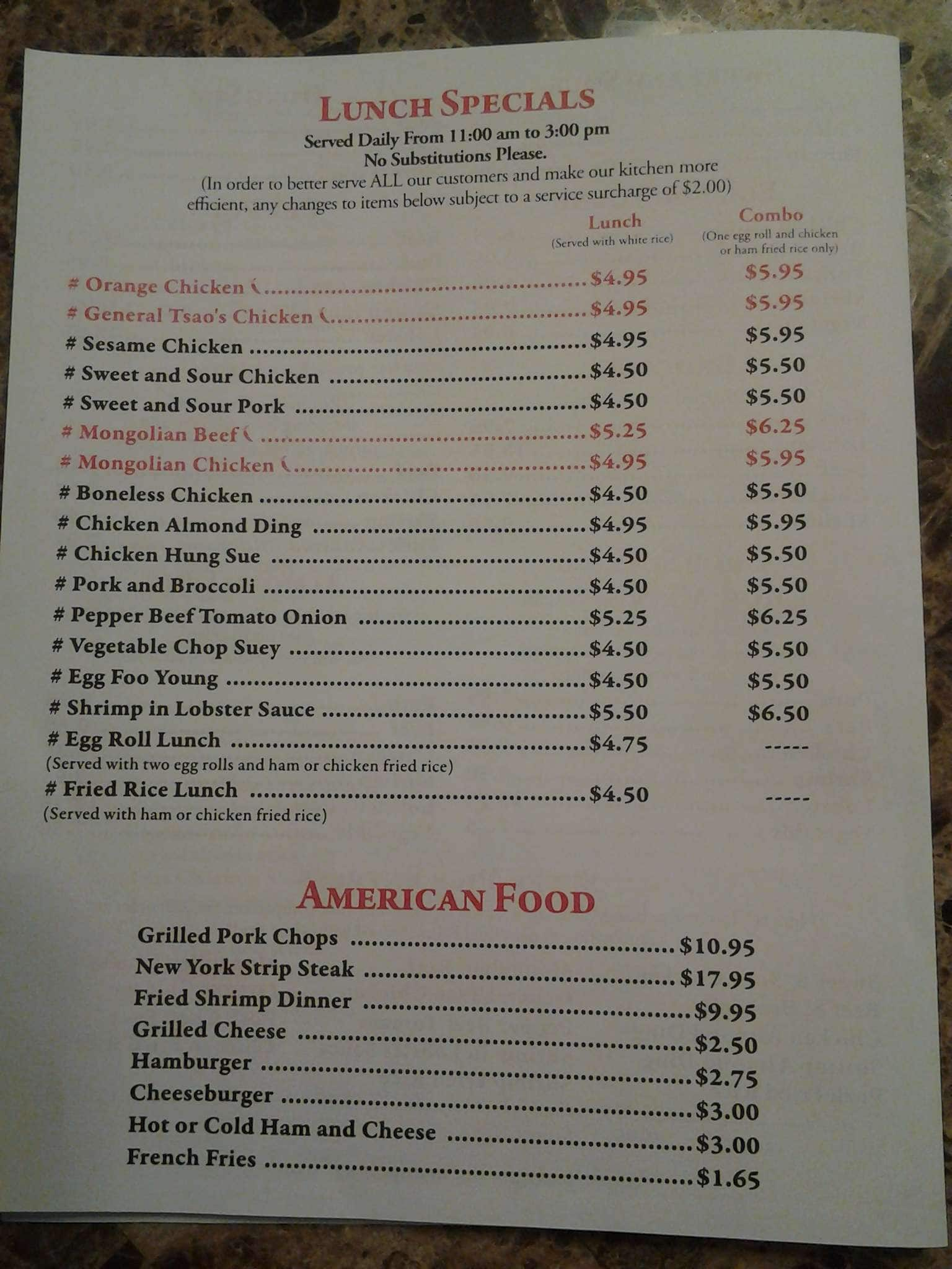 New Chiam Ottawa Menu