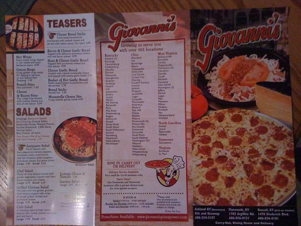 Giovanni's Pizza Menu, Menu for Giovanni's Pizza, Ashland ...