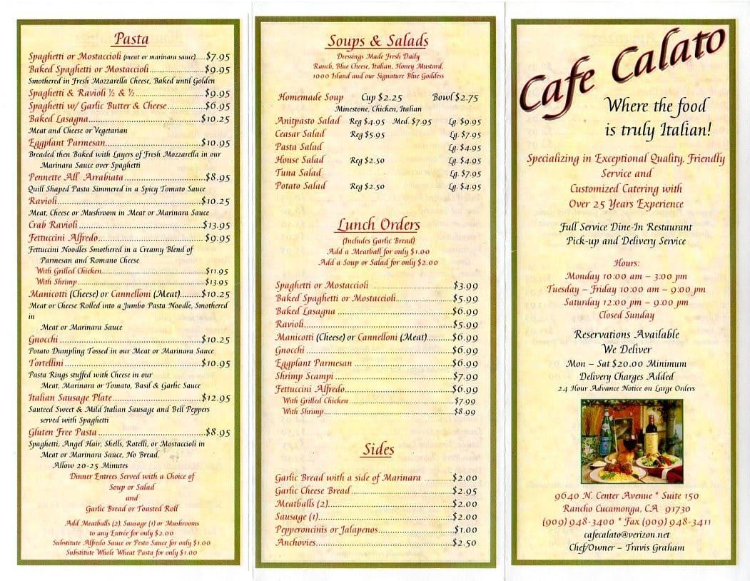 Cafe Calato Menu Rancho Cucamonga