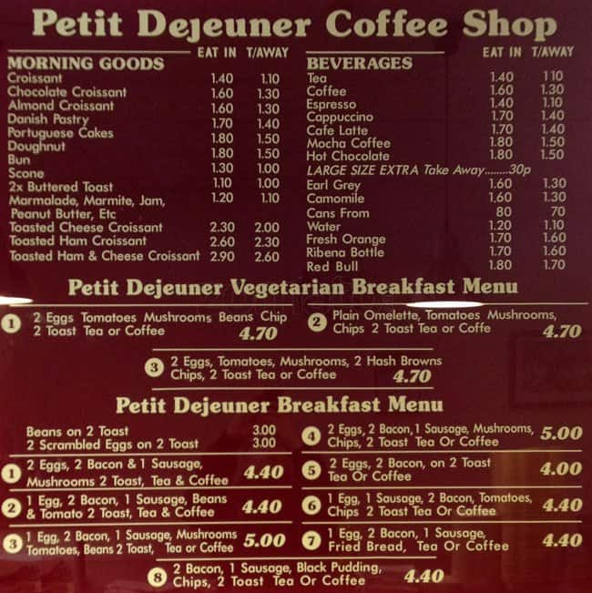 Fabuleux Menu at Petit Dejeuner cafe, London UC66