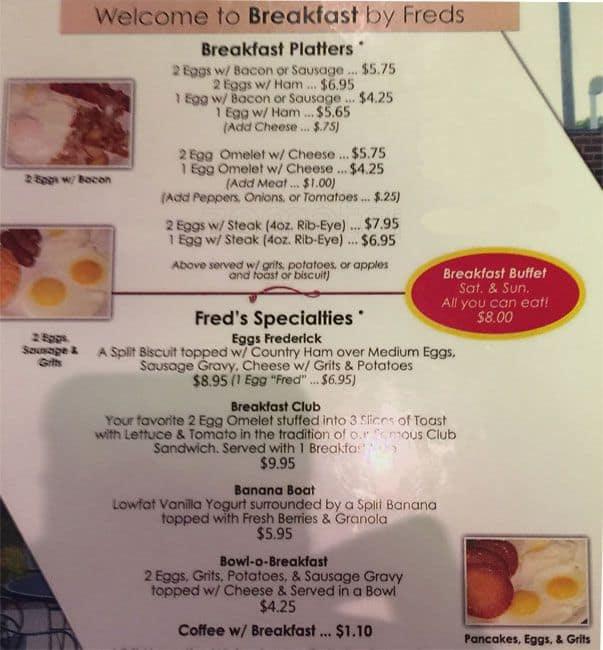Fred S Restaurant Menu Menu For Fred S Restaurant Franklin