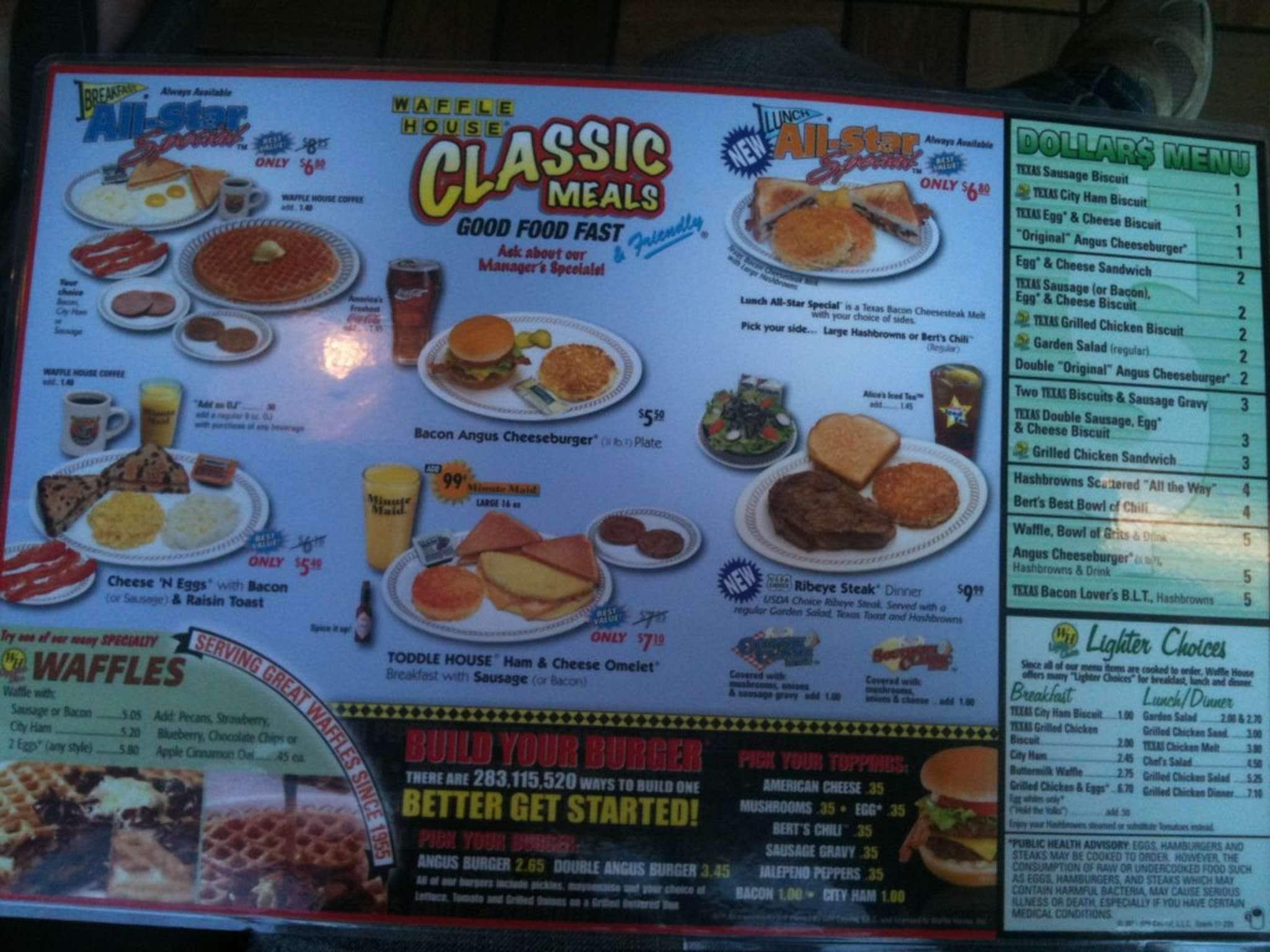 Waffle House Menu Menu for Waffle House Sherwood Little Rock