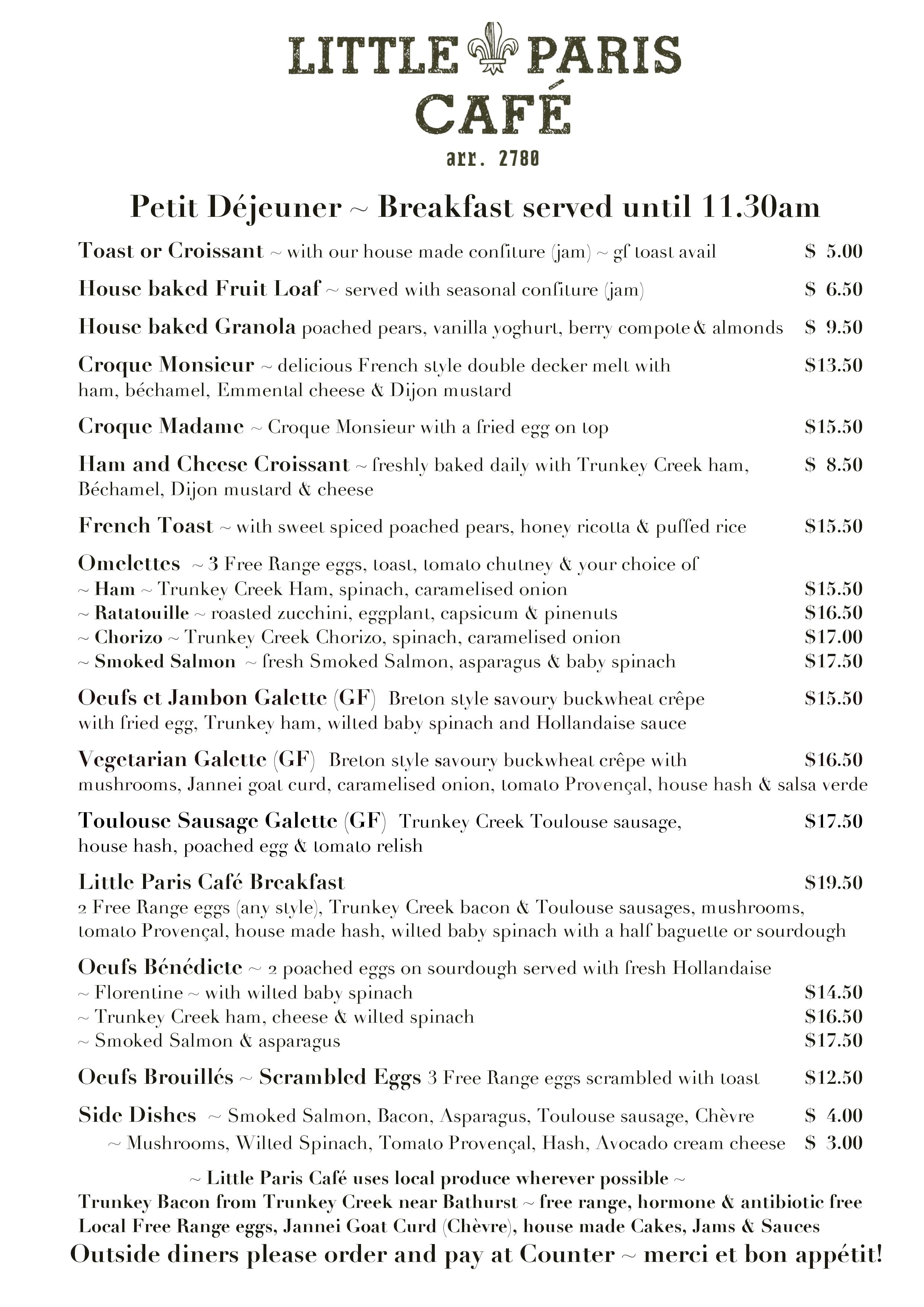 Carta De Little Paris Cafe Katoomba
