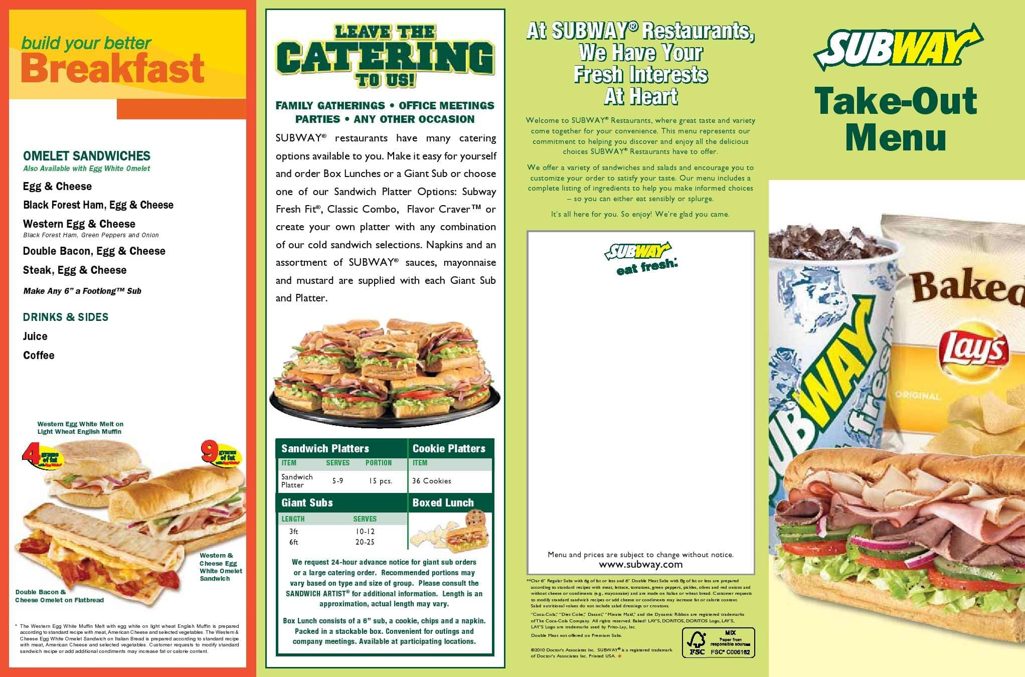 image regarding Subway Menu Printable identify Subway Menu, Menu for Subway, Cooper Metropolis, Miami