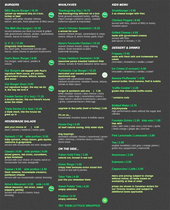 Wahlburger Restaurant Menu