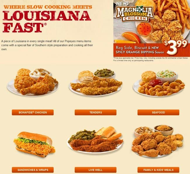 Popeyes Louisiana Kitchen Food popeye's louisiana kitchen menu - urbanspoon/zomato