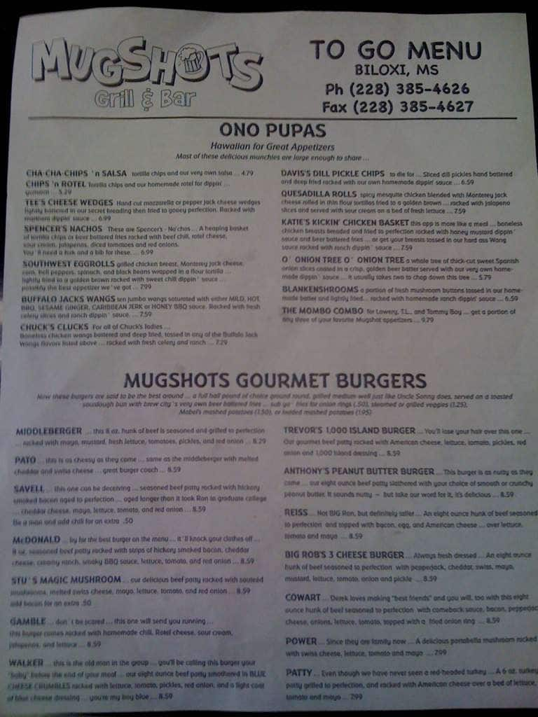 Mugshots Grill & Bar Menu, Menu for Mugshots Grill & Bar