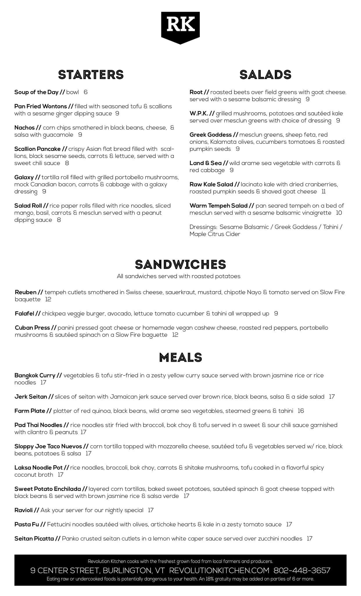 Revolution Kitchen Menu, Menu for Revolution Kitchen, Burlington ...