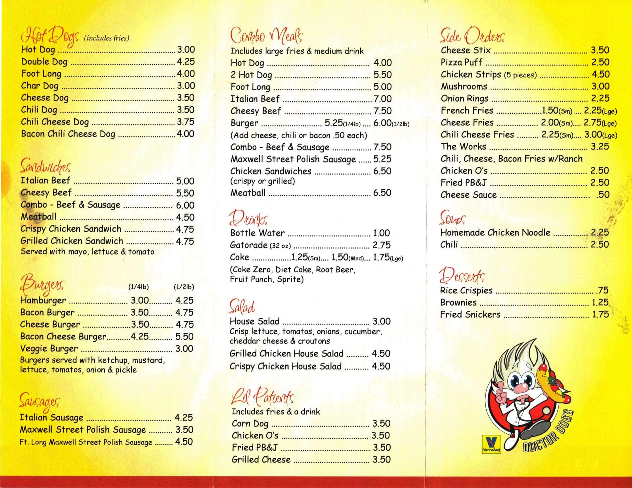 doctor dogs menu menu for doctor dogs roselle chicago