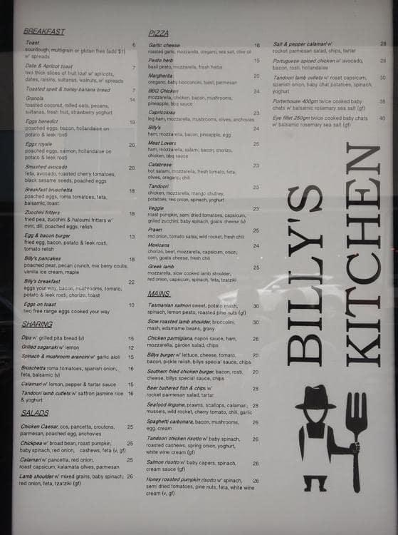 Billy S Kitchen Menu Menu For Billy S Kitchen Wantirna