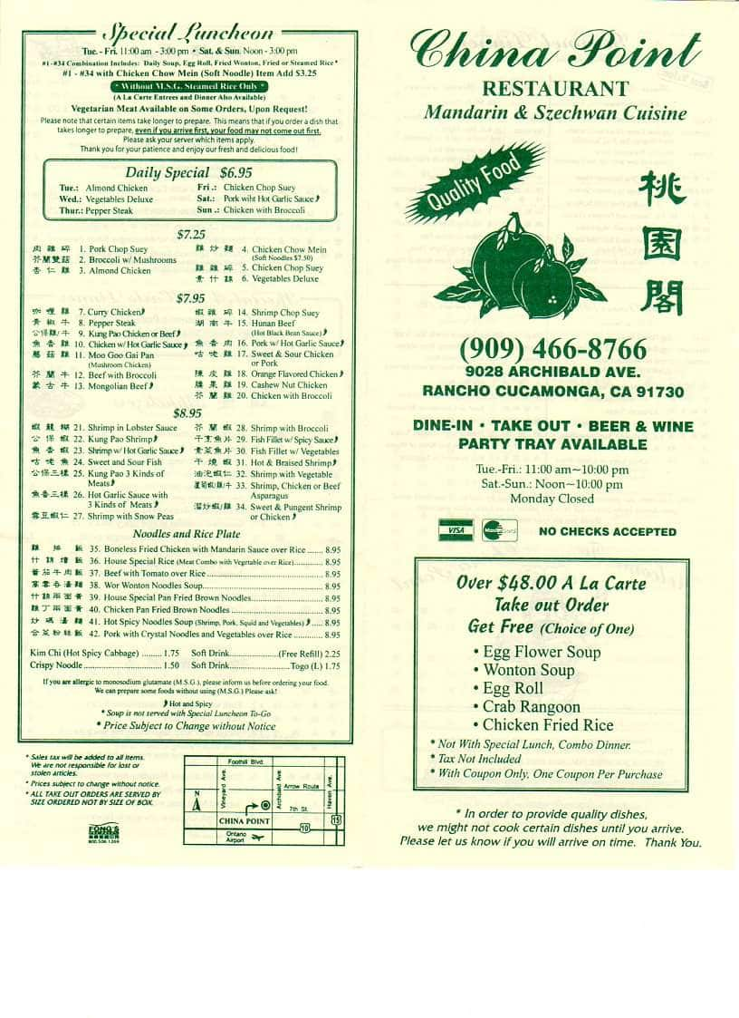 China Point Rancho Cucamonga Menu