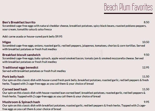 Menu at Beach Plum Kitchen restaurant, Carlsbad