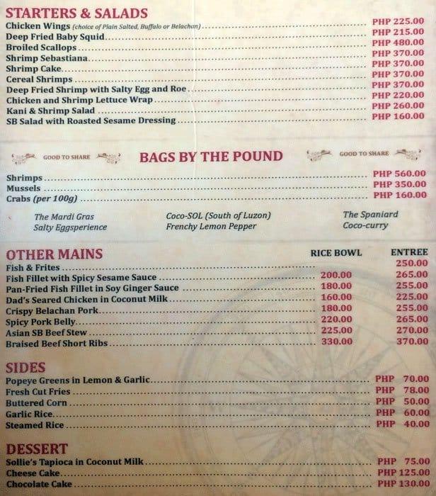 Santa Rosa Seafood Restaurant Menu