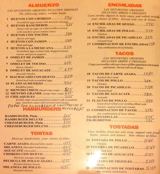 Restaurante El Patio, New City Menu