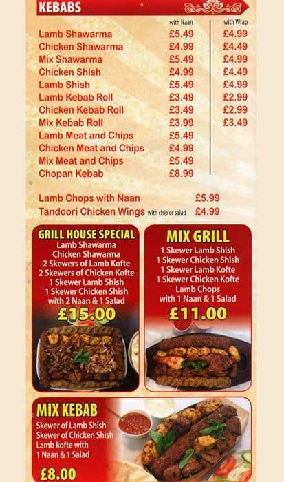 Menu at kabul grill house restaurant edgware - The grill house restaurant ...