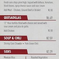 Scanned menu for Sweet Taco