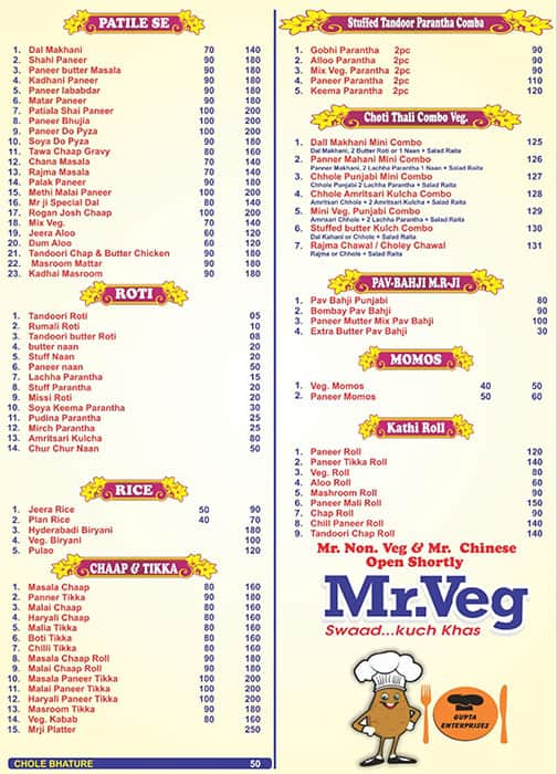 Mr Veg Rajouri Garden Menu