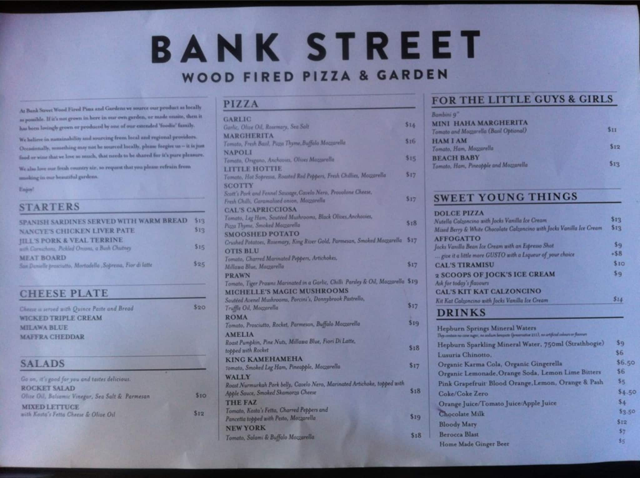 bank street wood fired pizza and gardens menu urbanspoon. Black Bedroom Furniture Sets. Home Design Ideas