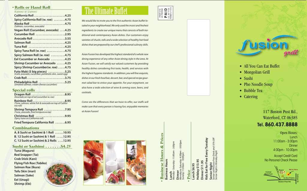 Fusion Grill Menu, Menu for Fusion Grill, Waterford, Waterford