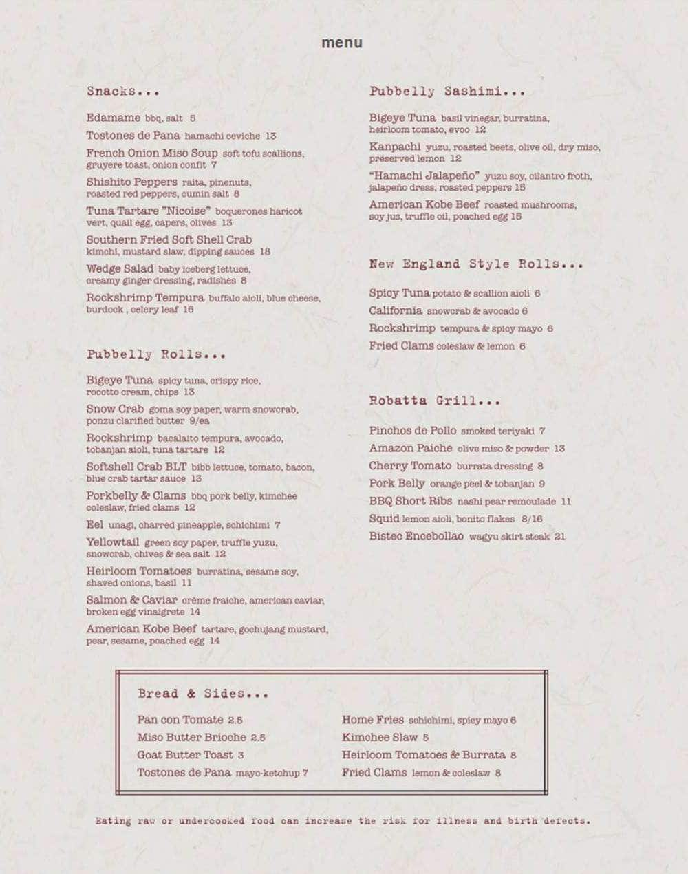 Pubbelly Sushi Menu