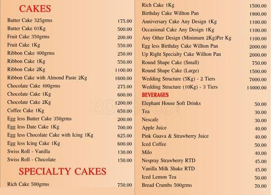 Royal Bakery Menu For Wellawatta Colombo 06