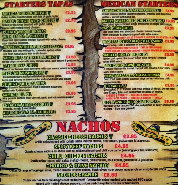 Desperados Menu Menu For Desperados Islington London