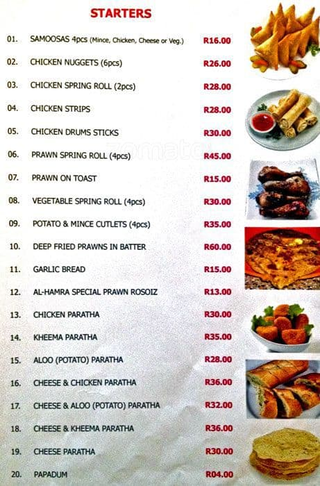 Al hamra menu menu for al hamra mayfair inner city for Al hamra authentic indian cuisine