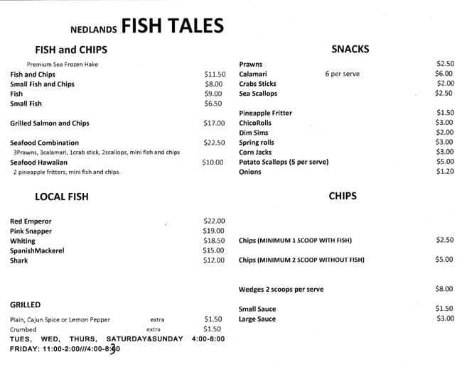 Nedlands fish tales menu menu for nedlands fish tales for Fish tales menu