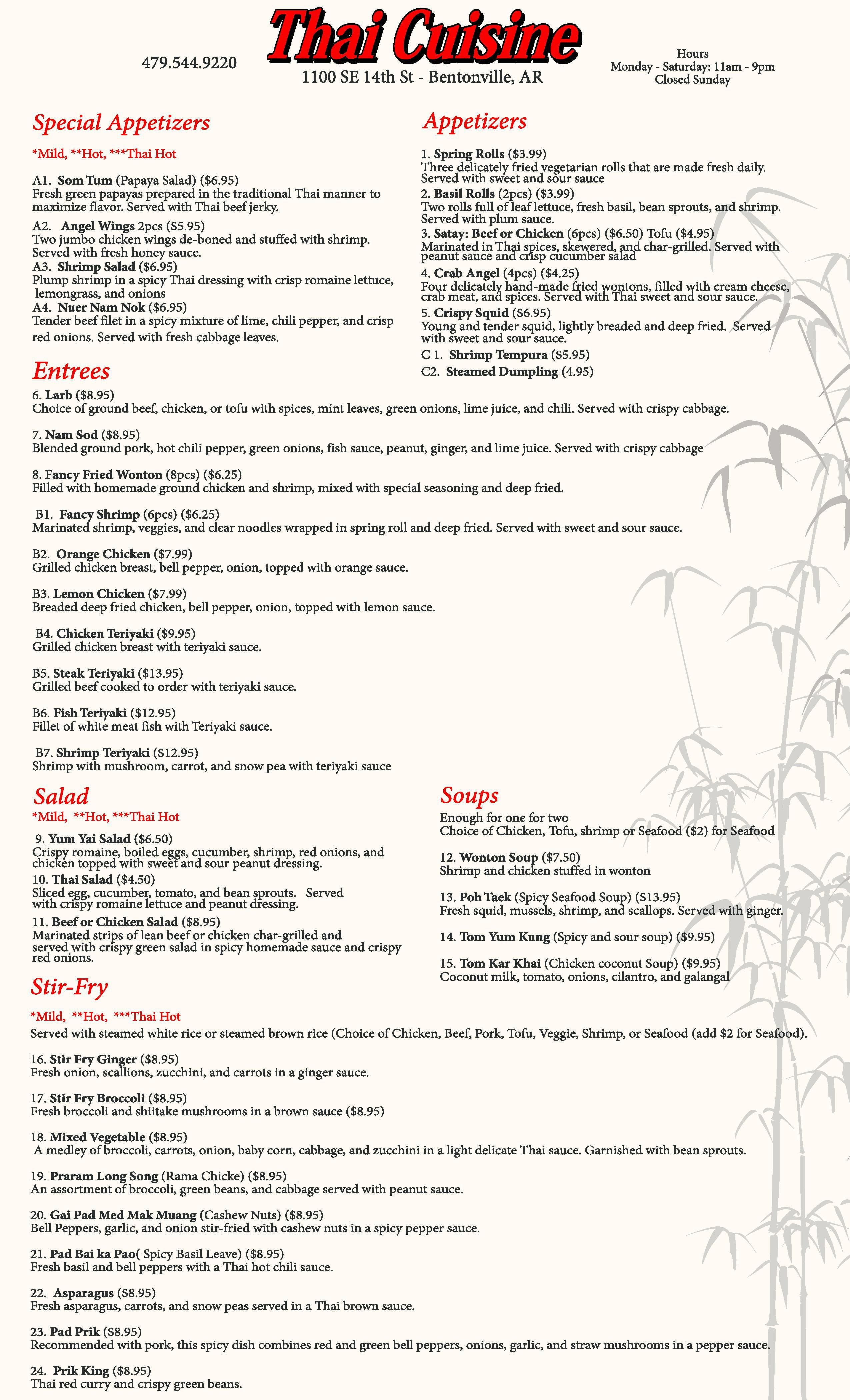 Menu at Thai Cuisine NWA, 1100 SE 14th Street Suite #8 Bentonville ...