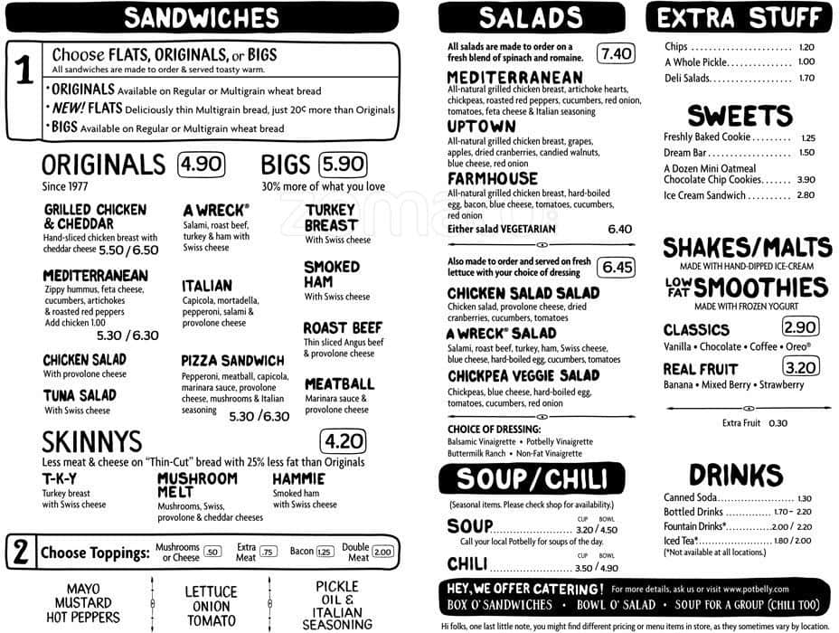 Unusual image for potbelly printable menu