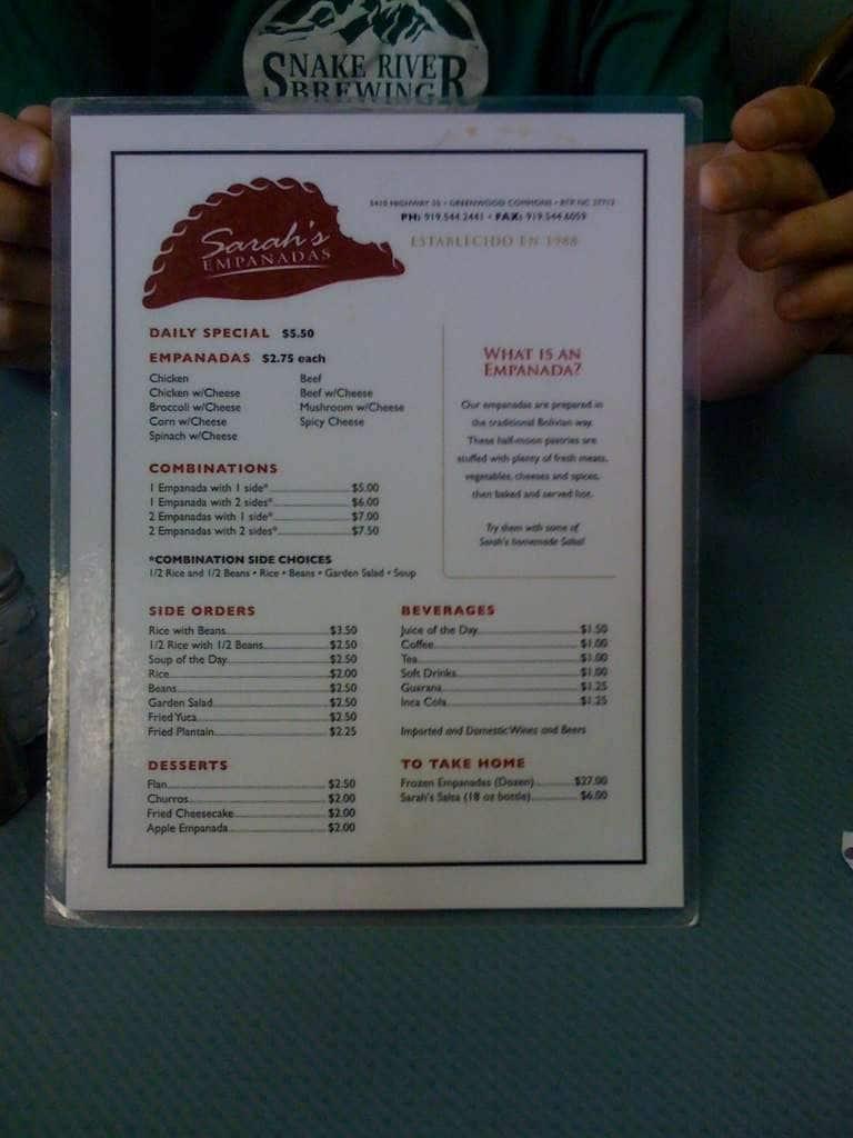 sarah u0027s empanadas menu menu for sarah u0027s empanadas rtp research